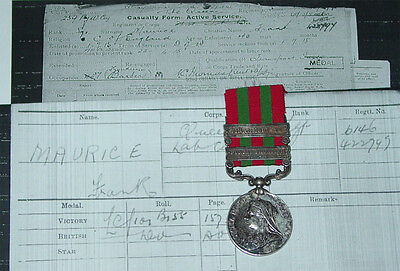 1895 India Service Medal 2 Clasps To R.w. Surrey Regiment + Service Records Etc