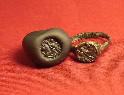 Ancient Roman Seal Ring, Finger Ring, 4. Century, Rider Seal