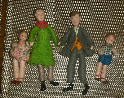 Vintage Dolls House Doll Family Father Mother Boy & Girl