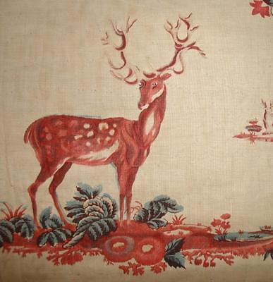 BEAUTIFUL FRAGMENT EARLY 19th CENTURY CHINTZ, STAGS & FLOWERS WITH PICOTAGE