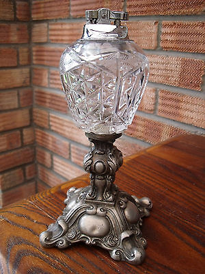 White Metal & Crystal Glass Table Top Lighter by Loevsky & Loevsky c1960s/70s