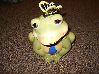 """Modern 14"""" Tall Frog Cookie Jar w Butterfly on Nose"""