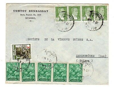 TURKEY 1947 Commercial Cover to Switzerland