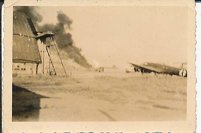 1940s  German aircraft photo #7 airbase,  airplane & fire