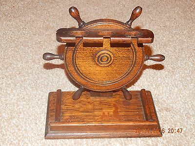 Vintage Wooden Ship's Wheel Pipe Rack Stand Tobacciana