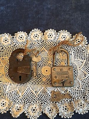 Antique Steel Lock With Lion & Key And Masterlock #49/99 Lock With Double Keys