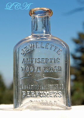 SCARCE antique DENTAL bottle JEWELETTE Antiseptic Tooth Wash FOR the TEETH
