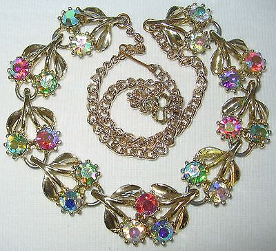 VERY PRETTY VINTAGE 50's FLOWERS & LEAVES AB CRYSTAL RHINESTONE GLASS NECKLACE