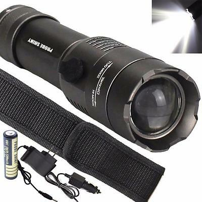 5000LM Tactical Zoomable XML T6 LED Flashlight Torch + 18650 Battery + Charger A