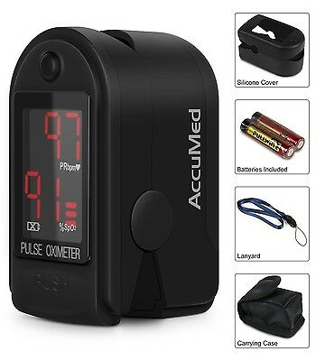 AccuMed Pulse Oximeter Sp02 Blood Monitor-Wrist-Cord-Bag-Batteries FDA CE- BLACK