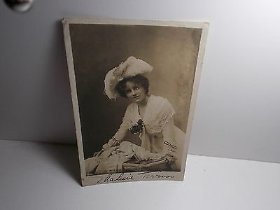 English Stage Actress Ellaline Terris Signed Photo Postcard May 22 1903 Donation