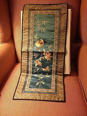 Vintage Asian Silk Runner With Embroidery Design