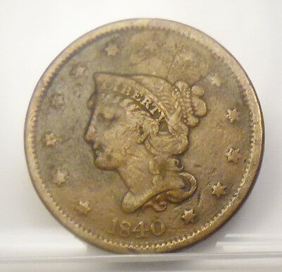 1840 US Mint Braided Hair Large 1 Cent Penny Coin Very Fine~ Free Shipping