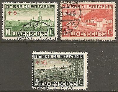 1921 Luxembourg War Monument Fund SG 209-211 Used (Cat £28)