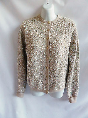 Vintage 60s Sweater Size L Taupe Sequin Beaded Cardigan Womens 46 Chest Jumper