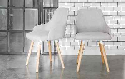 Vienna Grey Fabric Dining chairs with Oak legs