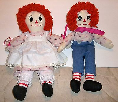 "Vintage Raggedy Ann & Andy 20"" Hand Made Cloth Dolls"
