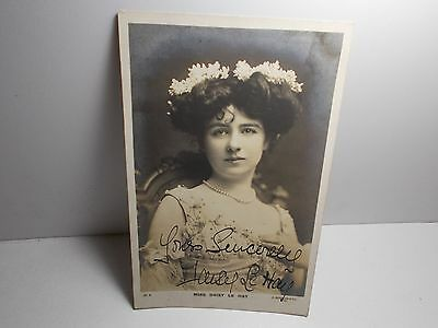 English Edwardian Stage Actress Daisy Le Hay  Signed Rp Postcard