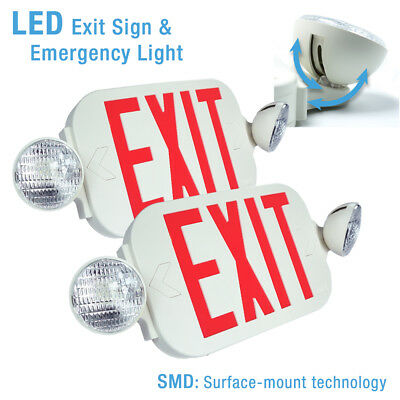 2x LED Exit Sign & Emergency Light – High Output - RED Compact Combo UL924 New