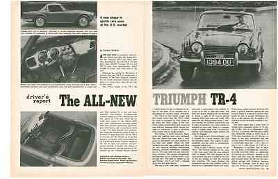 1965 Triumph Tr-4  ~  Nice Original 4-Page Drivers Report / Article / Ad