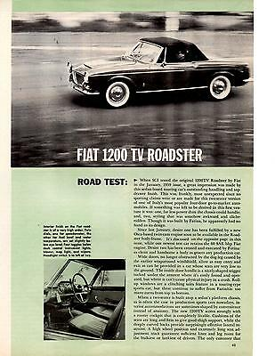 1960 Fiat 1200 Tv Roadster  ~  Original 3-Page Road Test / Article / Ad