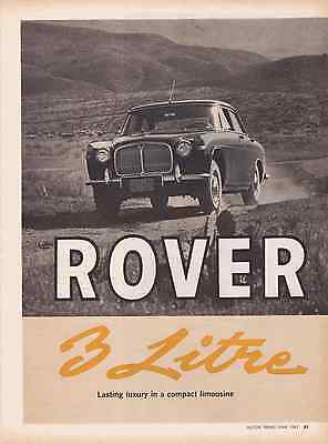 1962 Rover 3-Liter  ~  Nice Original 6-Page Road Test / Article / Ad