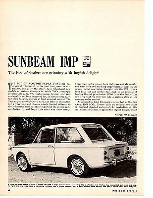 1964 Sunbeam Imp  ~  Original 4-Page Road Test / Article / Ad