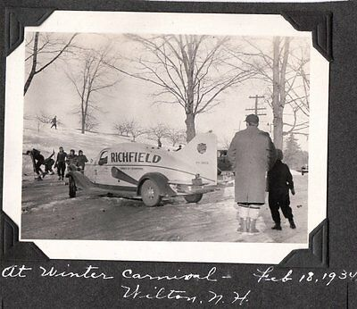 Vintage 1934 Winter Carnival Wilton New Hampshire Richfield Race Space Car Photo