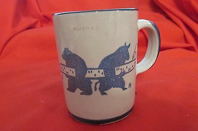 BYBEE Pottery Mug 4 Hilliard & Lyons Bull & Bear Stock Market Made n USA Mint
