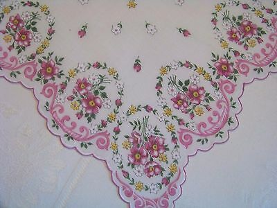 Vintage Shades of Pink Oval Floral Scalloped Edge Scalloped Hankie