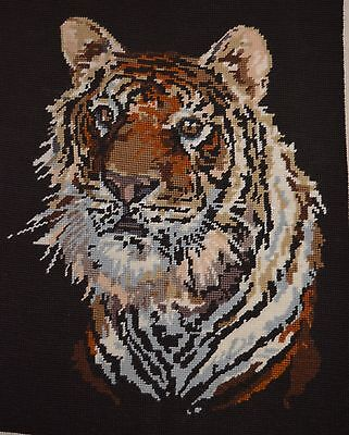 Completed Needlepoint Tapestry Tigers Head Ready To Frame Great Gift Christmas