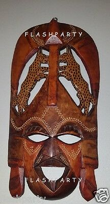 Mask with Two Kenya Spotted Leopards WALL SCULPTURE