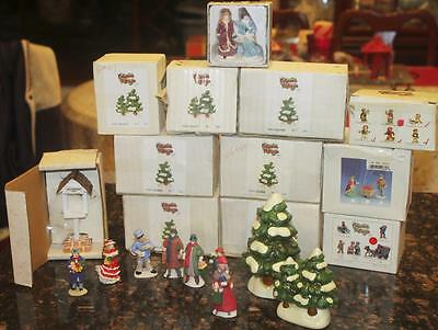 25pc Lot Colonial Village by Lefton Christmas Accessory Figures Trees Bell Tower