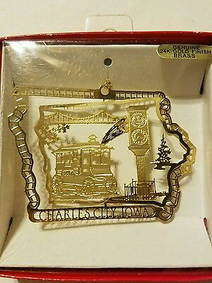 Charles City  Iowa Brass Christmas Ornament