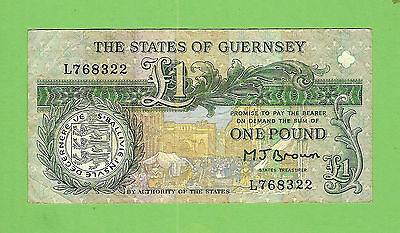 #d235.  The  States Of Guernsey  1  Pound   Circulated   Banknote