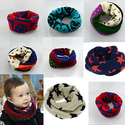1x Boy Girl Kids Toddler Knitted Woolen Winter Warmer Scarf Star for Xmas Gift