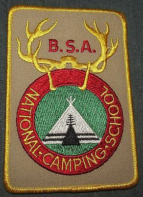BSA National Camping School NCS Jacket Patch Tan Background Plastic Back