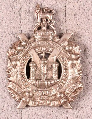 British Army Badge - King's Own Scottish Boarderers - white metal, lugs