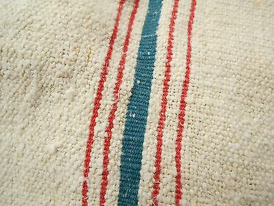 RARE AQUA & RED STRIPE 20x53 Vtg Antique HEMP LINEN Fabric FEED SACK GRAIN BAG