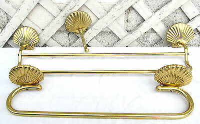 3pc Vintage Distressed Brass Metal Sea Shell Nautical Double Towel Bar Hook Lot