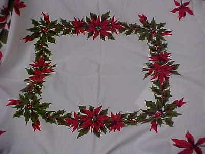 Vintage Cotton Christmas Rectangle Tablecloth Poinsettias Holly wBerries 43x52 e