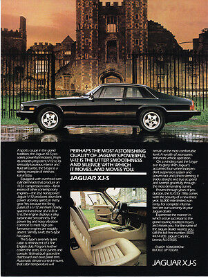 "1986 Jaguar XJS XJ-S Sports Coupe photo ""Moves You in Silence"" vintage print ad"