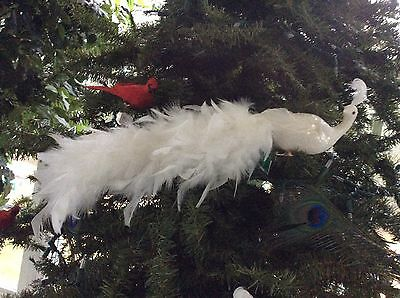 "Long 20"" White Feather tailed Phoenix Bird Clip On Feathered Ornament Kurt Adler"