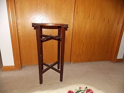 Mahogany Small Round Lift Top Table Accordian Legs Vintage