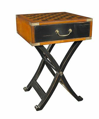G725: Chess Game table Colonial Style, Travel Game table, Antique Chess table
