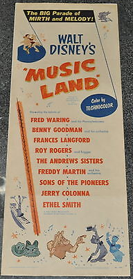 Disney Movie Poster 14x36 Insert 1955 Music Land Folded