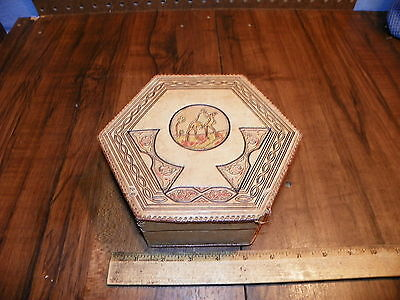 Vintage Hand-Tooled Leather Covered Dresser Box - Made In Morocco