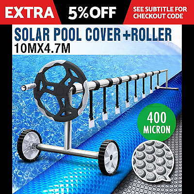 Solar Swimming Pool Cover Blanket Bubble Roller Wheel Adjustable 10 X 4.7M