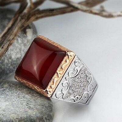 HEAVY Antique Victorian Natural Red Agate 925 STERLING SILVER Men's Ring