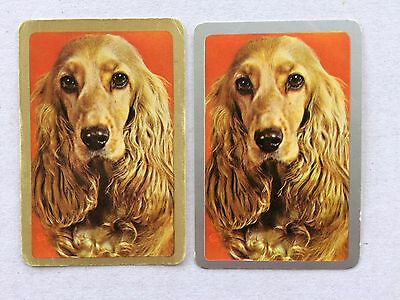 Vintage Swap / Playing Card Pair - Dogs - Spaniels - Gold & Silver - Blank Backs